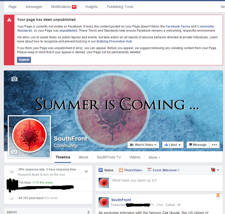 Censorship Continues. Facebook Permanently Deleted SouthFront's Page