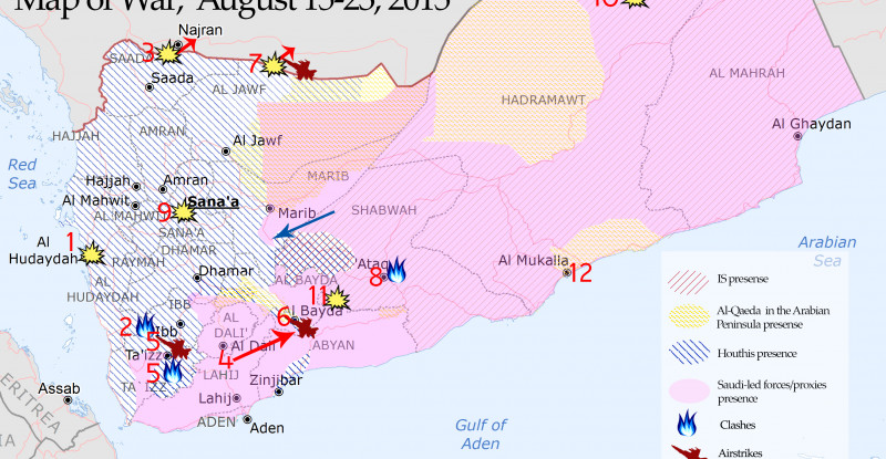 Yemen Map of War, August 15-23, 2015
