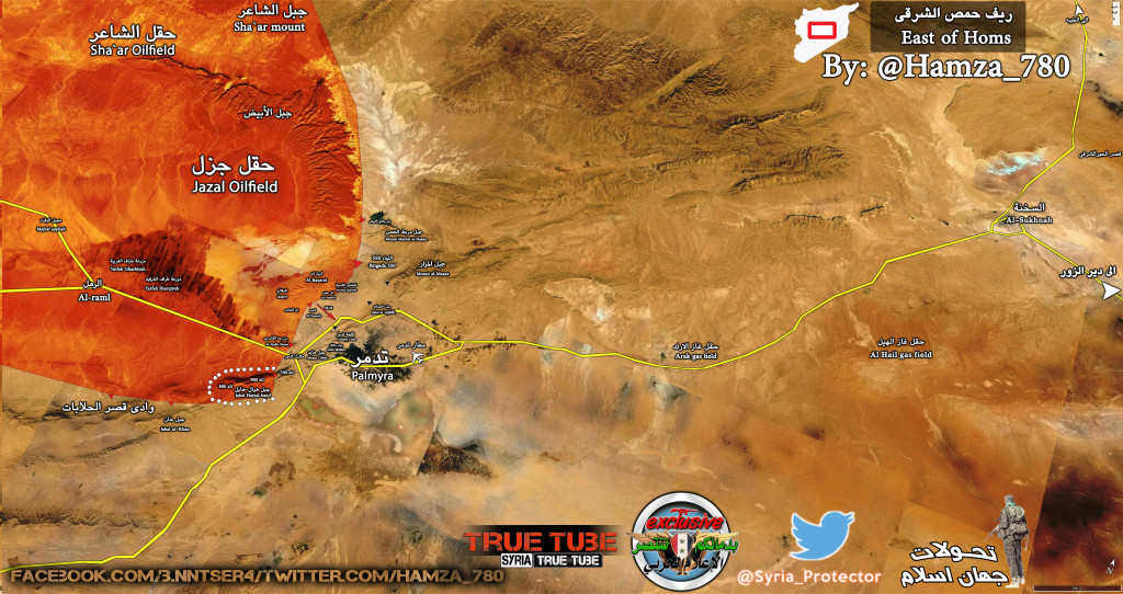 Map: Syria's Army Advances on Palmyra, Captures Hill 900 in Al-Hayyal mountains