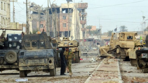 An ISIS den bombarded in Ramadi by Iraqi army