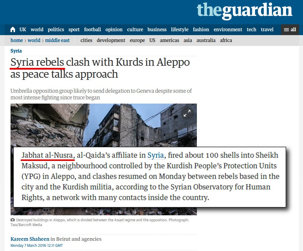 "TheGuardian Calls Al Nusra Militants ""Rebels"", Mix Them with ""Opposition"""