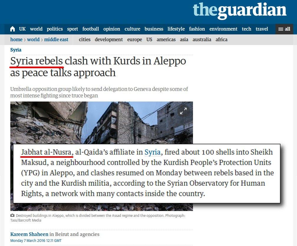 "TheGuardian Calls Al Nusra Militants ""Rebels"", Mix Them with ""Opposition"""