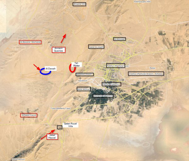 Map: Clashes for Palmyra. Syria's Forces Take Tal-Mattar