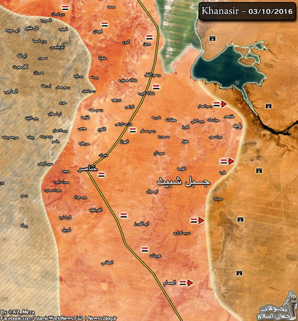 Map: Syrian Army Liberates More Settlements along the Khanasser-Aleppo Road