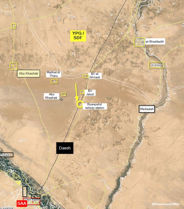 Map: Kurdish YPG Advances on Deir Ezzor, Syria