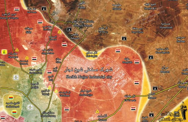 Map: Military situation in Aleppo on Mar 21. Clashes Going in Kafr Saghir
