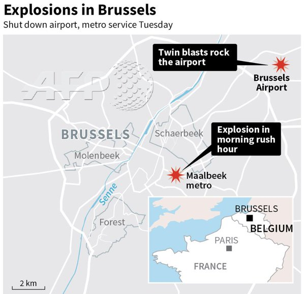 Breaking: Series of Explosions Hit Brussels' Airport, Metro Stations. 27 People Killed, Scores Wounded (Photo, Video)