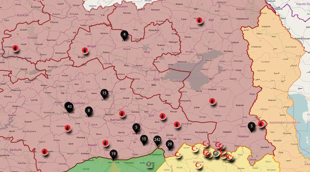 Map: Number of Cvilians Killed by Turkish Forces in Raids against Kurdish Militants