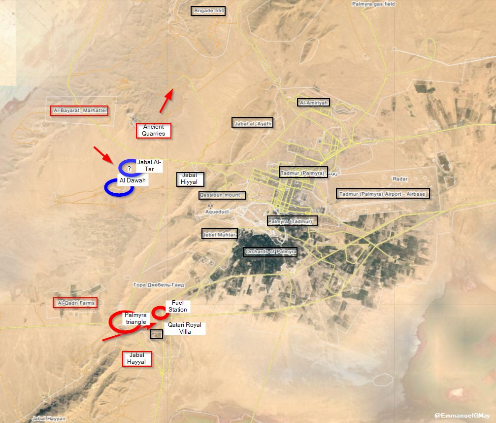 Map: Syria's Army 3 Assault Directions within Palmyra Battle