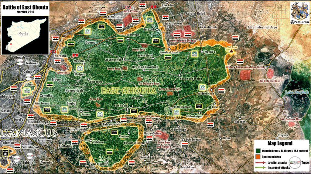 Map: Syrian Army Split Militant Forces in East Ghouta Pocket Near Damascus