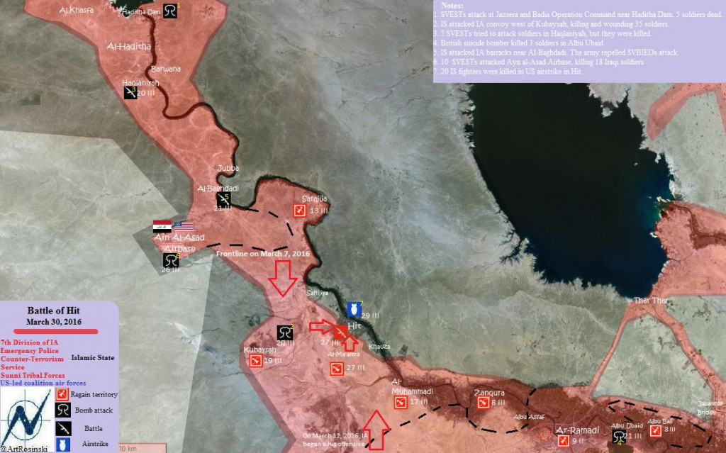 Map: Iraq's Forces Advance on Hit in Anbar Governatore, Mar. 30