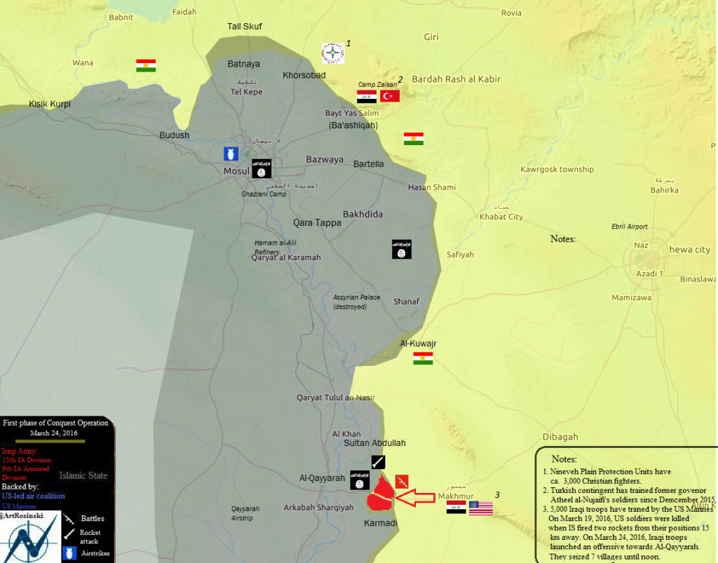 Map: Iraq's Operation to Retake Mosul from ISIS