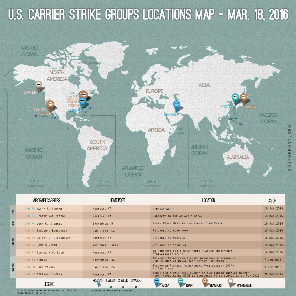 U.S. Carrier Strike Groups Locations Map – Mar. 18, 2016