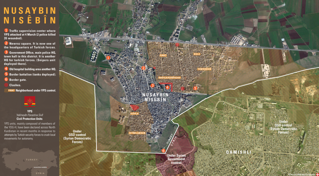 Map: Security Situation in Nusaybin. Turkey's military cracks down on Kurds