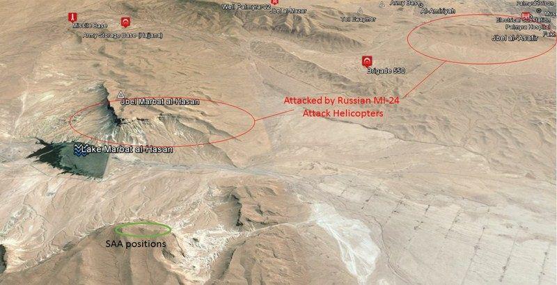 Russian MI-24 helicopters bombing positions on ISIS in Jbel Marbat al Hasan and Jbel al-'Asafir