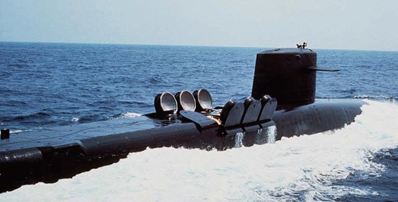 Ohio Class SSBN in the process of opening the Trident II missile launch bays