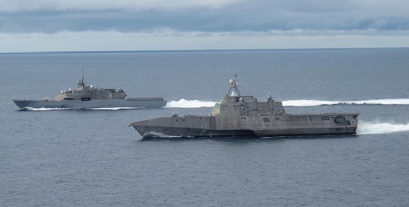 LCS USS Freedom and USS Independence at sea