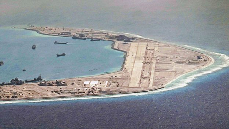 Detail of land reclamation and airstrip construction on Mischief Reef