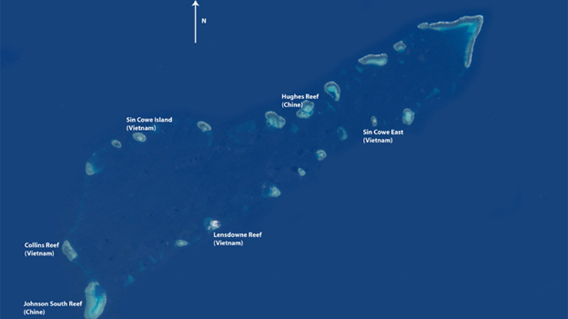 Union Bank in the Spratly Islands and the location of the Johnson South Reef Skirmish of 1988.