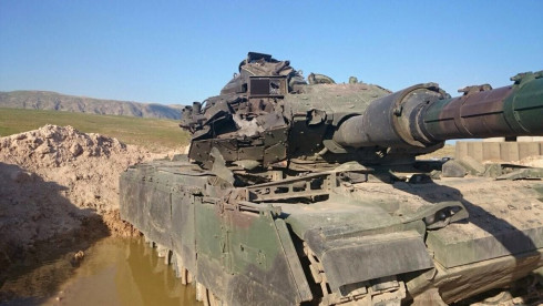Turkish tank knocked out by a Kornet missile
