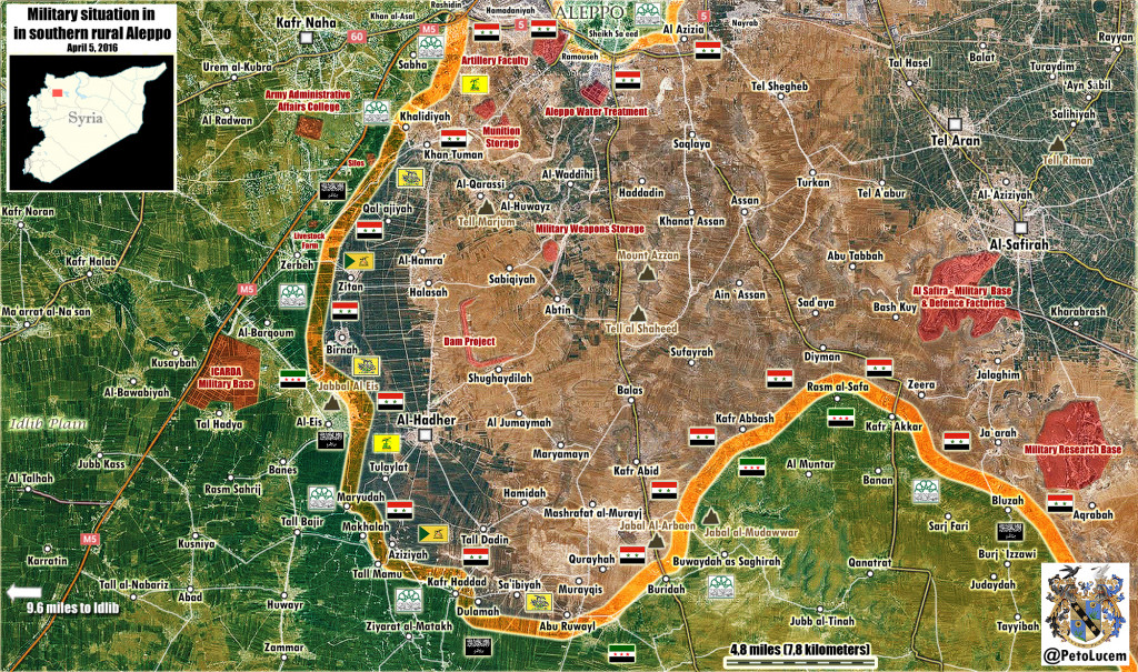 Map: Military Situation in Southern Aleppo on April 5