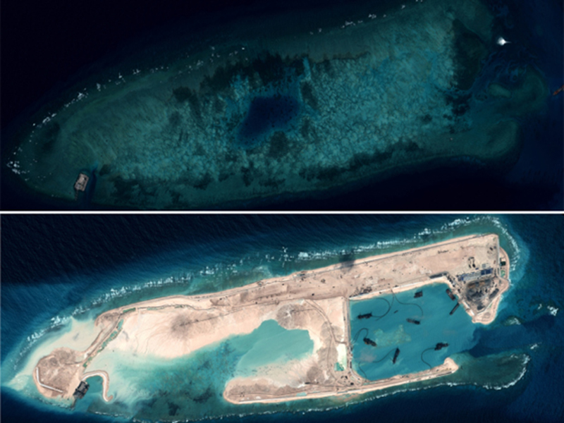 Chinese land reclamation efforts at Fiery Cross Reef in the Spratly Islands August 2014 – January 2015