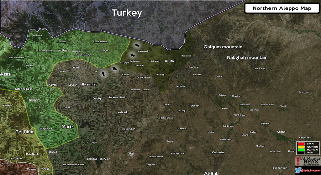 Maps Syria: Military Situation in Northern Aleppo on April 11