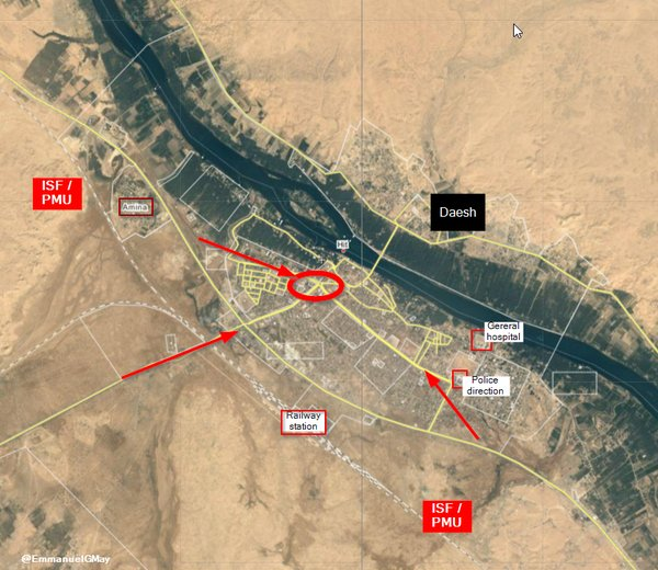 Map: Iraq's Forces Clash with ISIS in Strategic Town of Hit