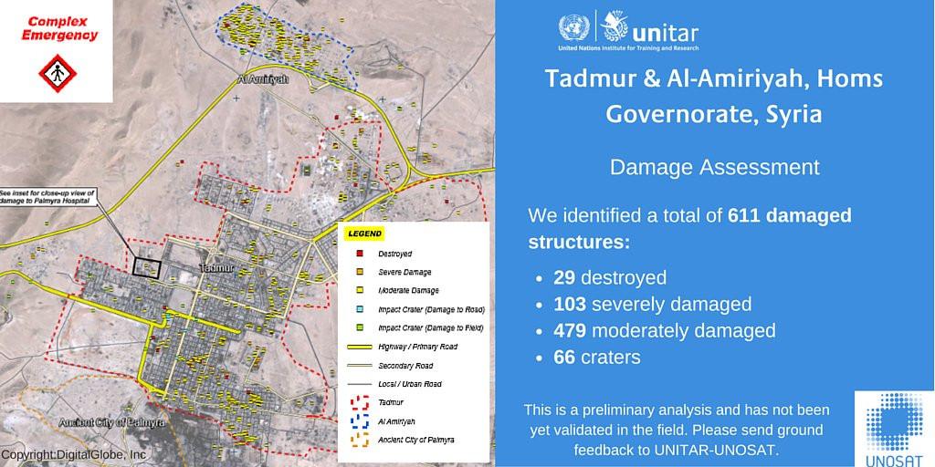 Map: Damage Assessment of Palmyra, Syria