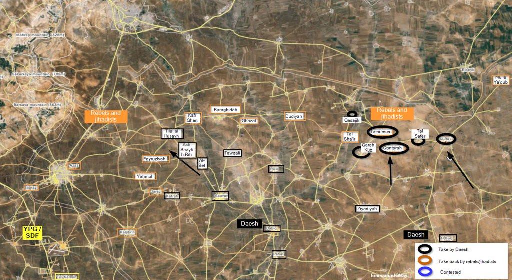 Map: ISIS Reverses Rebel Gains and More in North Aleppo: Al-Rai Recaptured