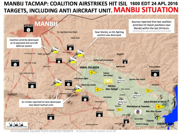 Map: US-led Coalition Air Campaign in Support of Kurds in Syria. Situation on April 24