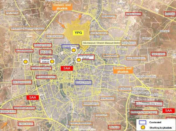 Map: Clashes in Sheikh Maqsoud District of Aleppo City