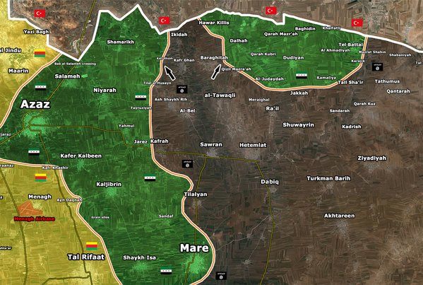 Map: ISIS Advances in Northern Syria, Ecncirles FSA & Allies