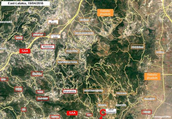 Map: Syria's Army Takes Seizes Jabal Zuwayqat, South of Kabanah