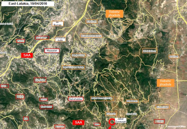 Map: Syria's Army Takes Seizes Jabal Zuwayqat, South of Kabanah