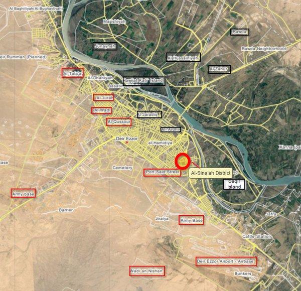 Map: Syria's Army Takes Back al-Sina'ah District in Deir Ezzor. ISIS Retreats