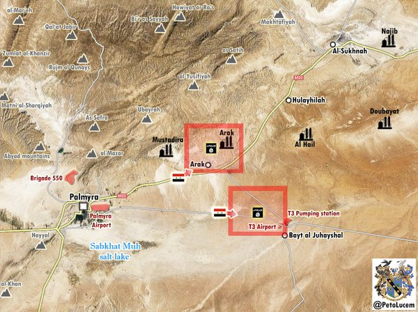 Map: Syria's Army Advances on T3 Airport, Arak Village in Homs Province