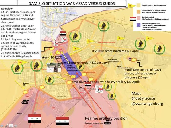 Map: Situation in Qamishli in Northeastern Syria. Clashes between Kurds and NDF