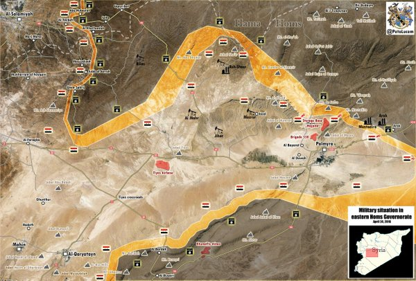 Map: Syria's Army Is Clearing Mountain Area Near Palmyra