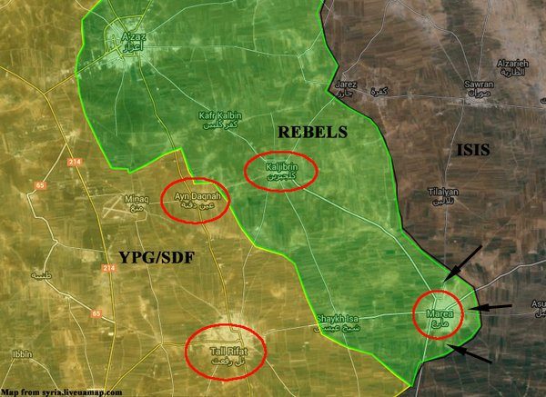 Map: YPG, FSA and ISIS Rumble around Azaz in Northern Syria