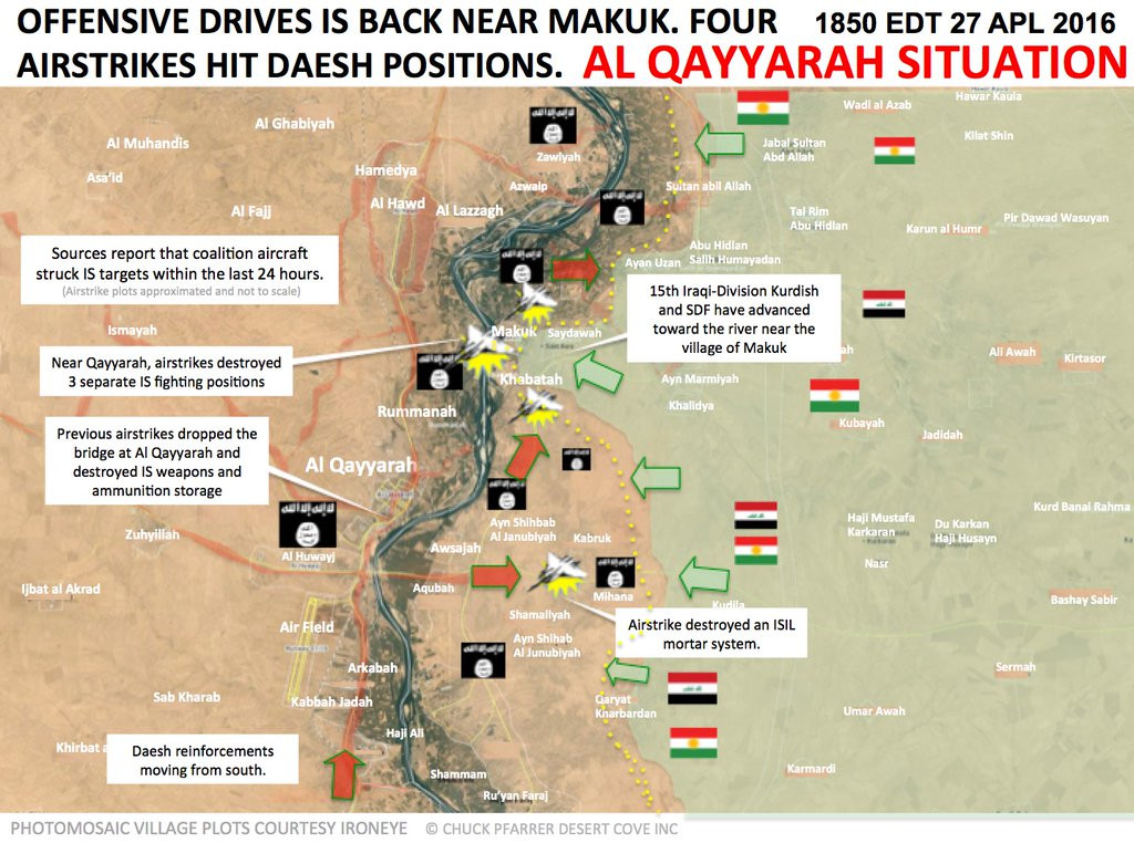 Map: Military Situation in Al Qayyarah, Iraq