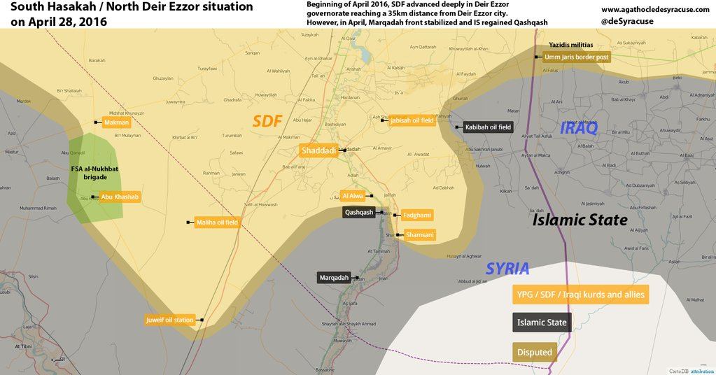 Syria: Military Situation in North Deir Ezzor, South Hasakah on April 28