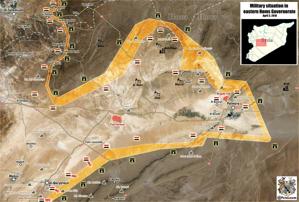 Map: Military Situation in Eastern Homs after Liberation of al-Qaryatayn