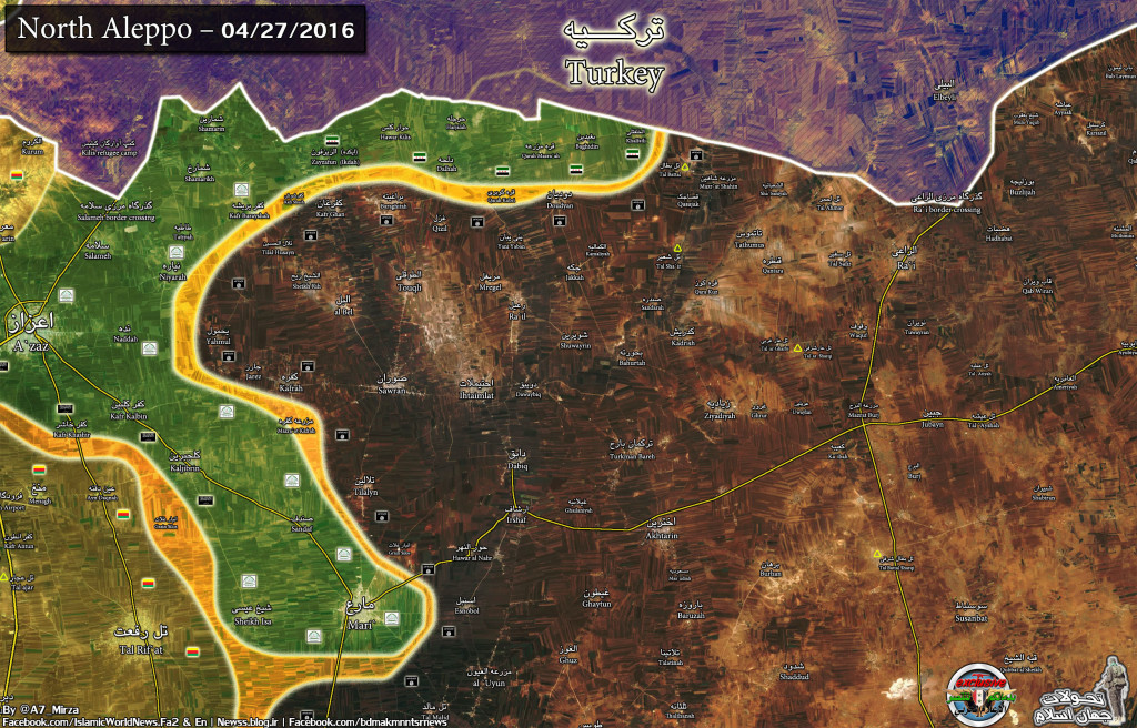 Map: Military SItuation in North Aleppo on April 27