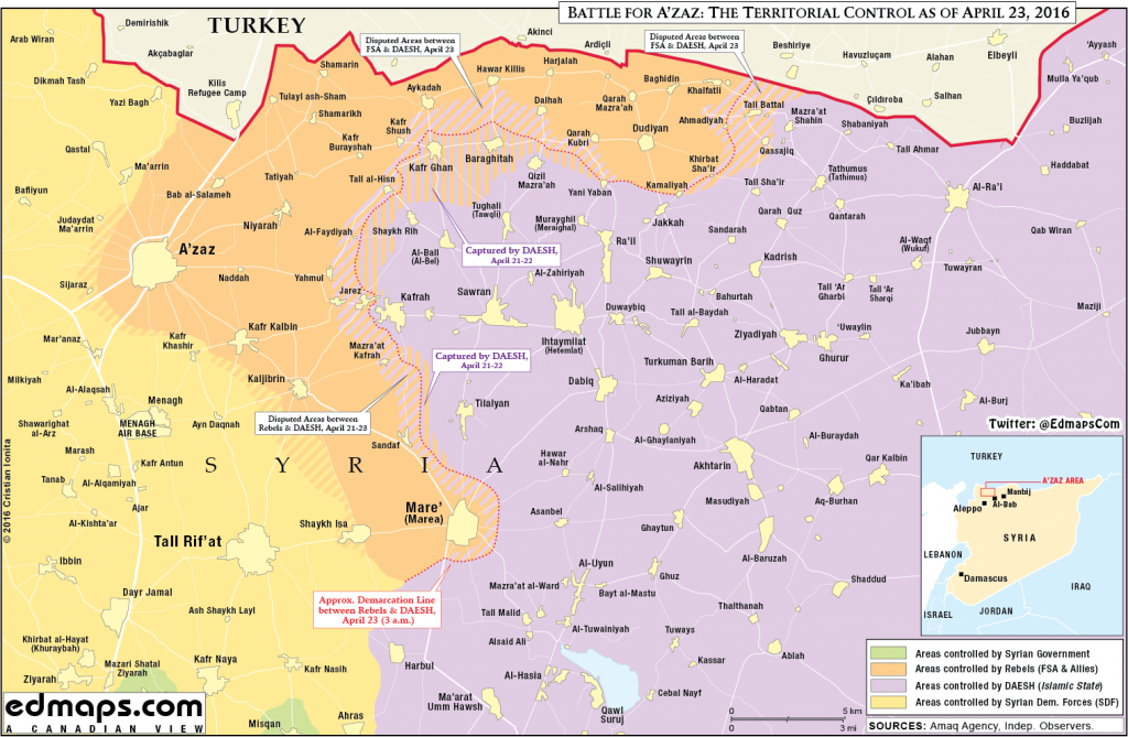 Map: Military situation in Northern Syria on April 23. ISIS retakes Kafr Ghan & Baraghitah