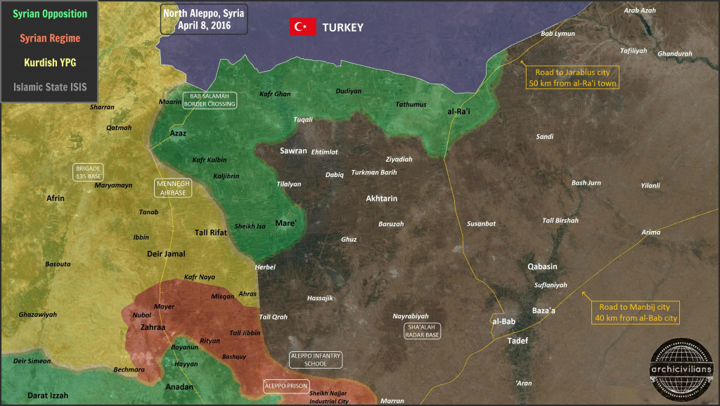 Map: Military Situation in North Aleppo on April 8