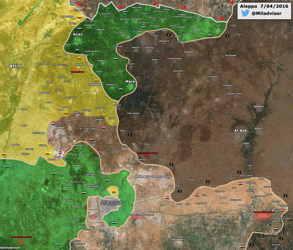 Map: Turkish-backed Militants Take Control of Al-Ra'i from ISIS in North Aleppo, Syria