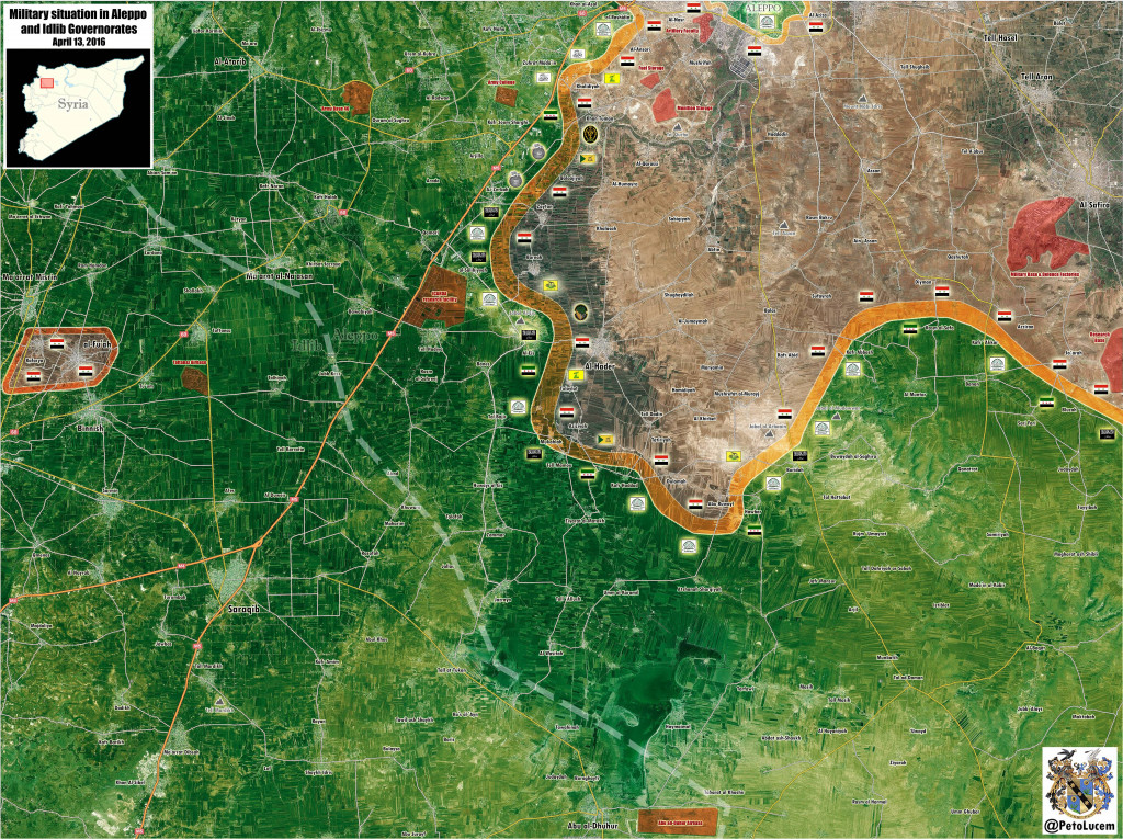 Map Syria: Military Situation in Aleppo and Idlib Governatores on April 13