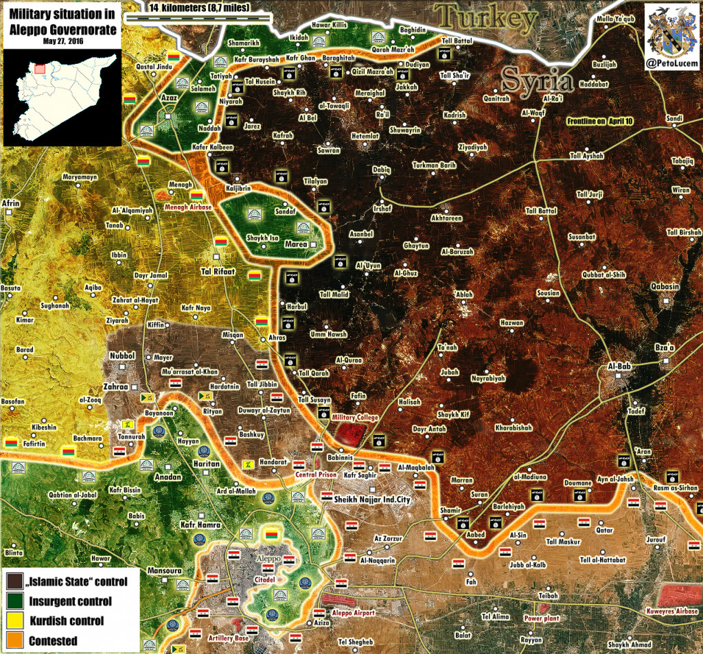 Animated Map: Northern Aleppo, Syria on May 1-27