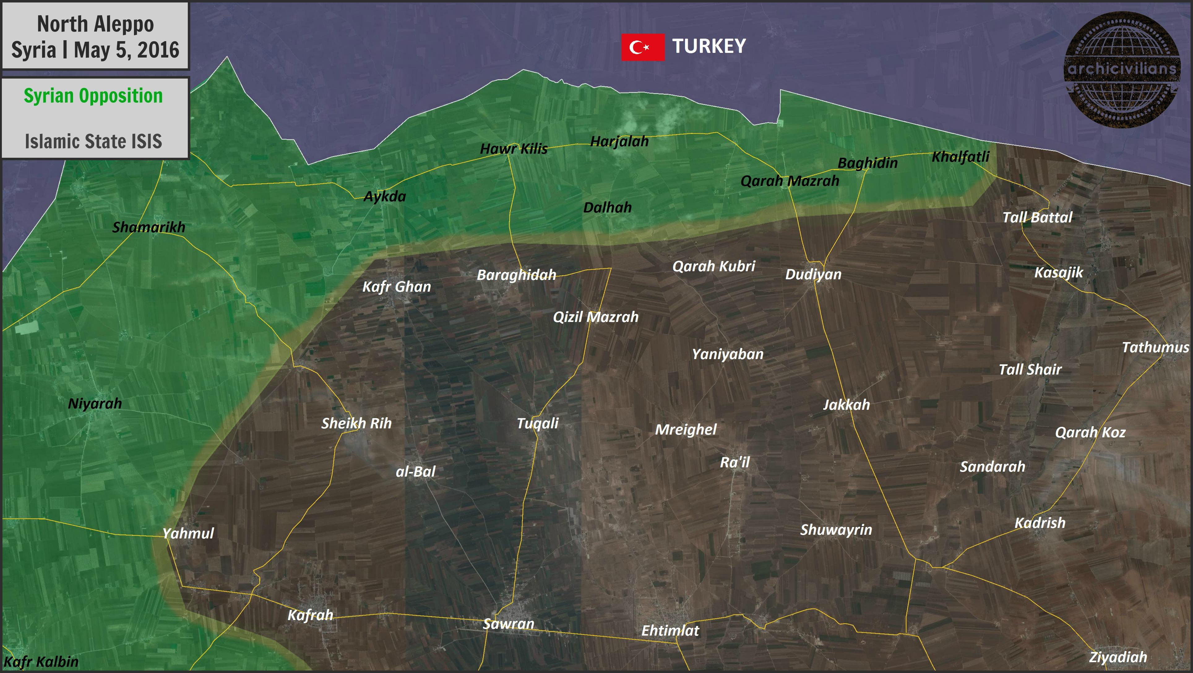 Military Situation in Norhern Aleppo, Syria on May 5